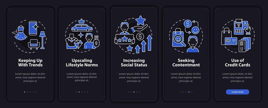 Consumerism motivation dark onboarding mobile app page screen