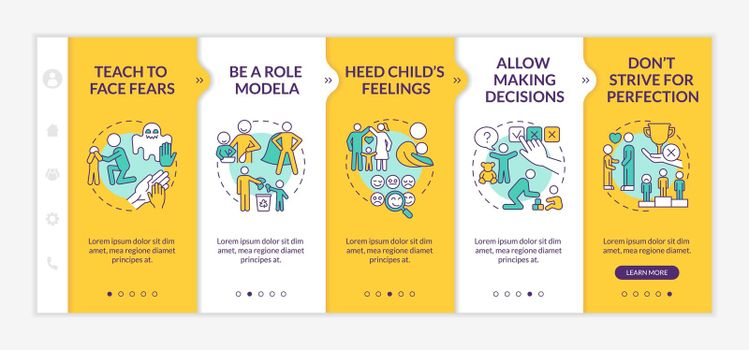 Bringing up tips onboarding vector template
