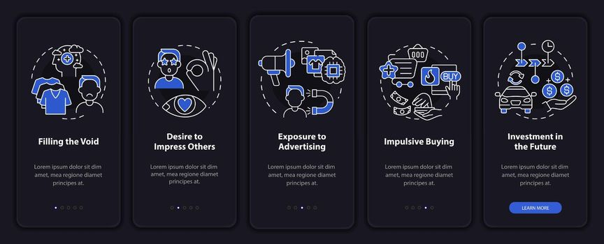 Reasons for consumerism dark onboarding mobile app page screen