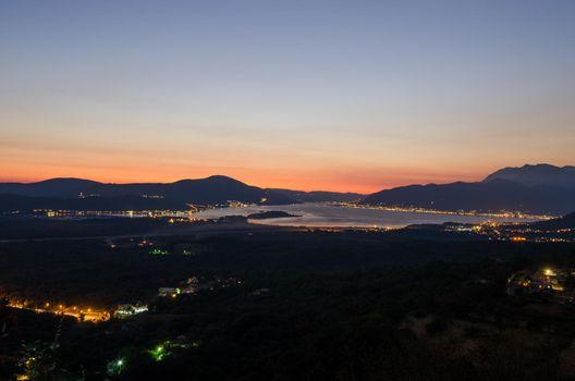 Boka Kotorska at night