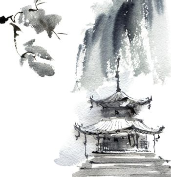 Landscape with pagoda
