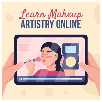 Online beauty tutorial social media post mockup