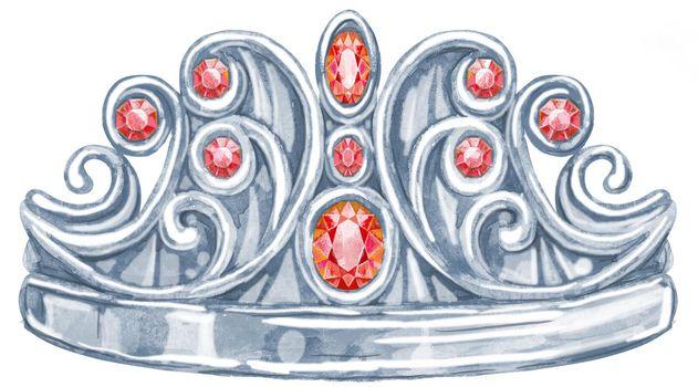 Watercolor silver crown Princess with precious stones ruby