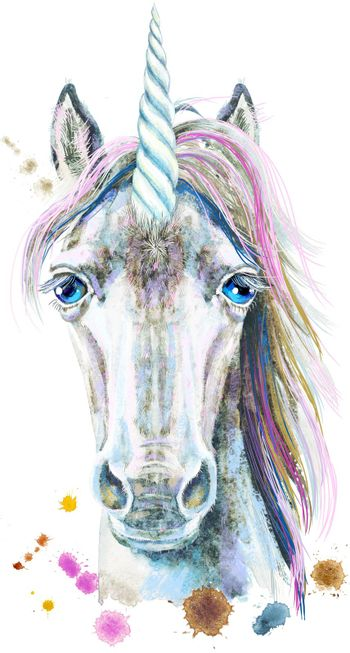 Watercolor portrait of a white unicorn with a pink mane
