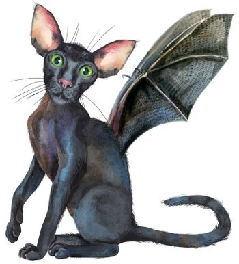 Watercolor oriental black cat with bat wings. Painting animal illustration