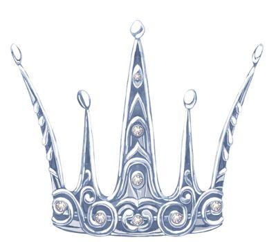 Watercolor silver crown Princess with precious stones fianit