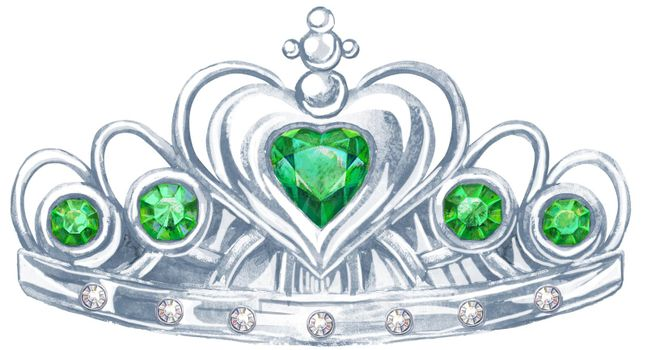 Watercolor silver crown Princess with precious stones emerald and fianit