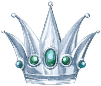 Watercolor silver crown Princess with precious stones