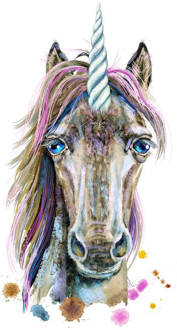 Watercolor portrait of a unicorn with a pink mane