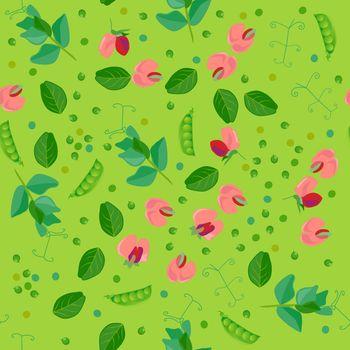 Cute seamless pattern with cartoon green pea