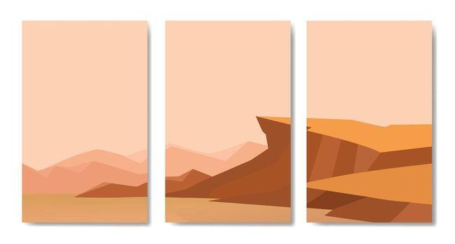 Landscapes vector set, minimalist landscape collages