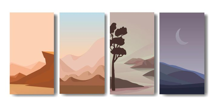 mountain vector landscapes in a flat style