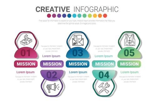 Infographic design template with numbers 5 option