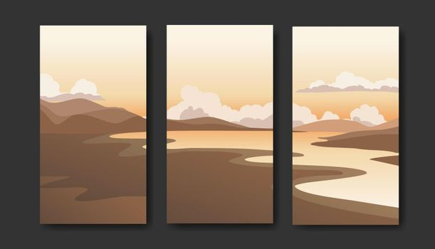 Landscapes vector set, flat style. Natural wallpapers are a minimalist