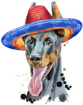 Watercolor portrait doberman in mexican wide brim hat