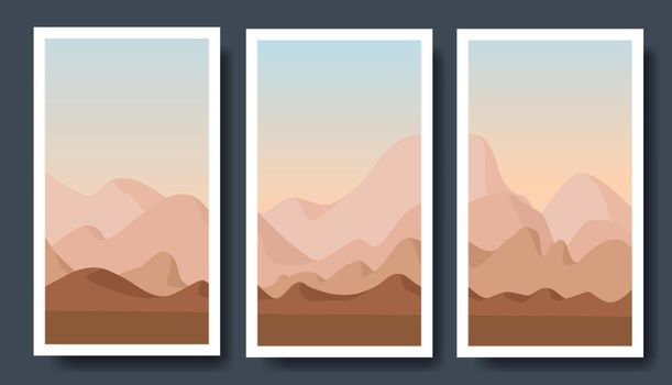 mountain vector landscapes in a flat style.