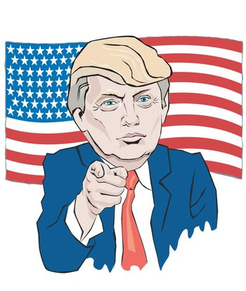 Cartoon Portrait President tie points with your finger