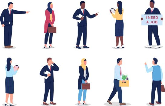 Unemployed flat color vector faceless character set