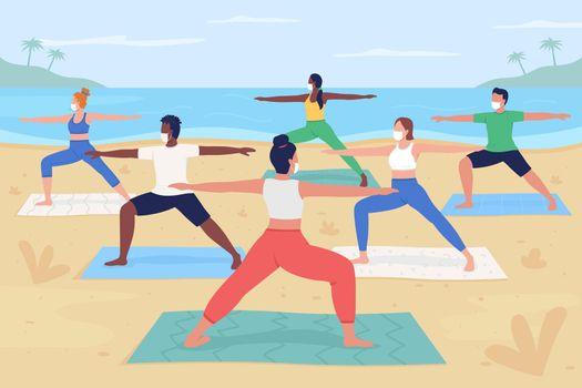 Yoga retreat during pandemic flat color vector illustration