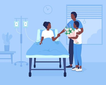 Family support during hospitalization flat color vector illustration