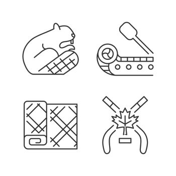 Historical heritage of Canada linear icons set