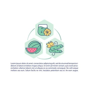 Fruits and vegetables containing water concept line icons with text