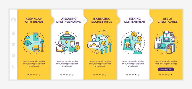 Consumerism motivation yellow onboarding vector template