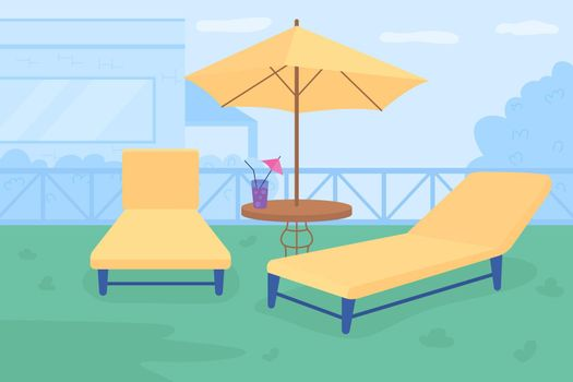 Relaxing retreat in courtyard flat color vector illustration