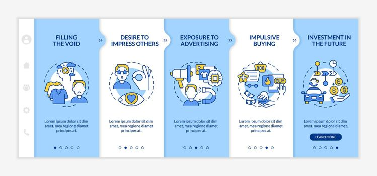 Reasons for consumerism blue onboarding vector template