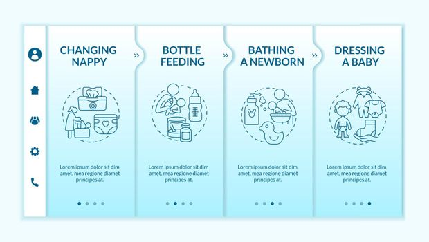Infant care onboarding vector template