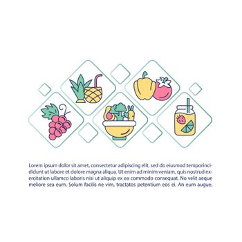 Fluid containing food concept line icons with text