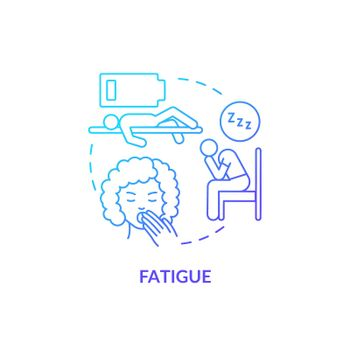 Fatigue blue gradient concept icon