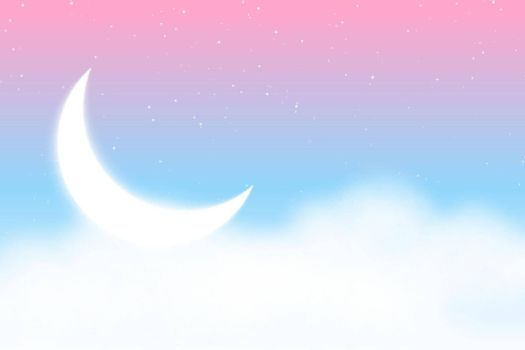 dreamy magical background with clouds moon and stars