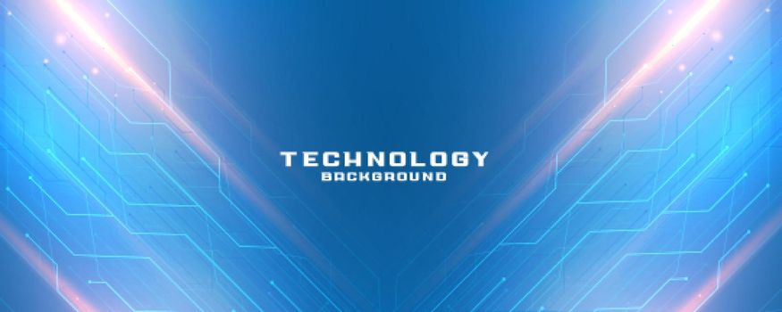 blue technology banner with circuit lines diagram