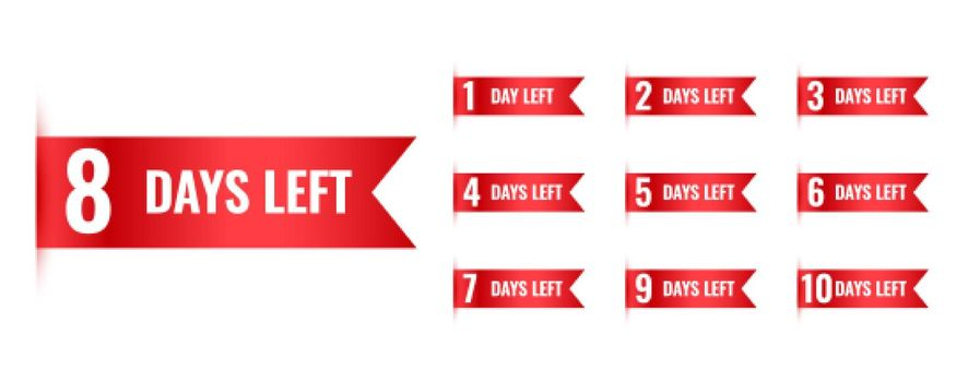 number of days left countdown banner in ribbon style