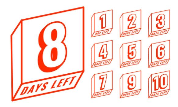 line style countdown number of days left banner