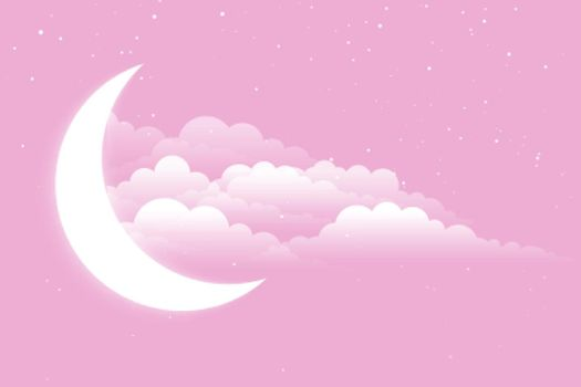 glowing moon with clouds and stars background