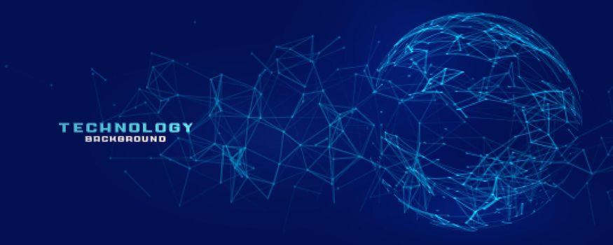 digital network mesh sphere technology banner
