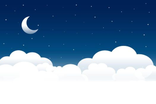 fluffy clouds night scene with moon and stars