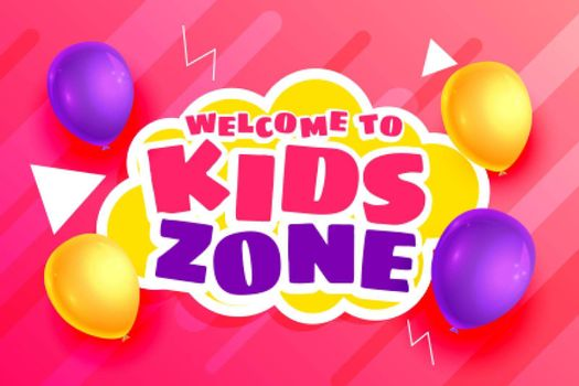 kids zone background with balloons