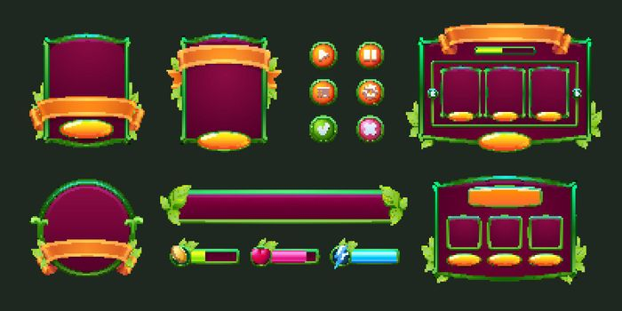 Game buttons and frames with green leaves