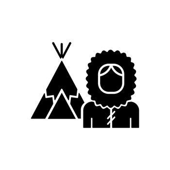 Inuit population black glyph icon