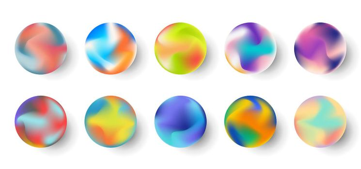 Set of gradient colorful sphere fluid shape elements isolated on white background