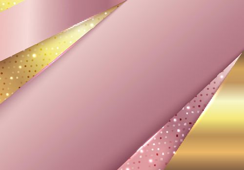 3D abstract background modern luxury style template pink gold and golden geometric stripes with glow light on dots pattern