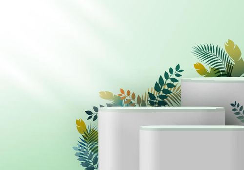 3D realistic white pedestal on green mint backdrop for product display with tropical leaves