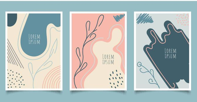 Set of cover brochure template abstract hand drawn pattern organic shapes with line pastel color background