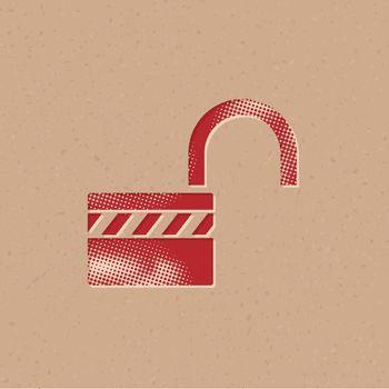 Halftone Icon - Padlock unlocked