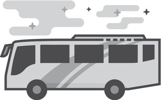 Flat Grayscale Icon - Bus