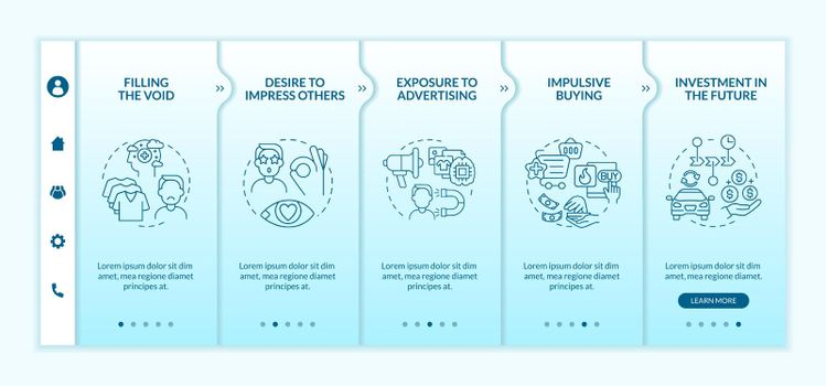 Reasons for consumerism blue gradient onboarding vector template