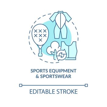 Sports equipment, sport clothing concept icon